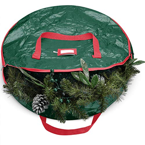 """Christmas Wreath Storage Bag - ZOBER Christmas Holiday Wreath Storage Bag -Tear Resistant Fabric Storage Bag for Artificial Christmas Wreaths with Sleek Zipper Featuring Transparent Card Slot for Labeling 