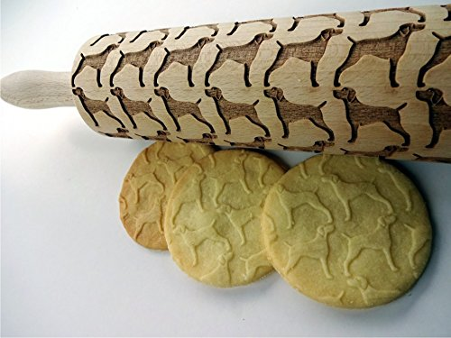 WEIMARANER dog embossing Rolling pin. Engraved rolling pin with Weimaraner dogs pattern