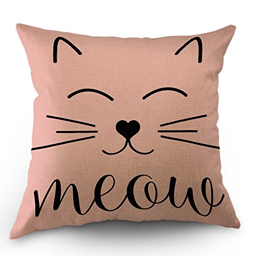 Moslion Cat Face Pillows Decorative Throw Pillow Cover Case Cute Cat Smile Meow Cotton Linen Pillow Case 18x18 Inch Square Cushion Cover for Sofa Bedroom Pink