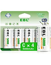 EBL Rechargeable C Batteries 5000mAh Ni-MH High Capacity C Cell Battery 4 Pack New Retail Package