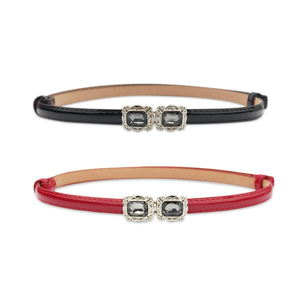 Ya Jin 2PCS Adjustable Solid Color Skinny Waist Belt Thin Pattern Leather Hasp Waist Strap for Women Girls