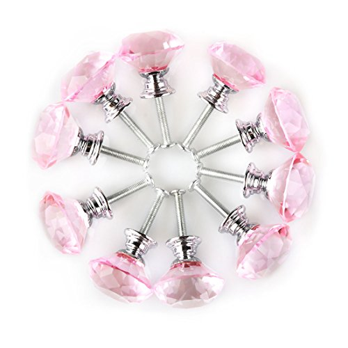 pink crystal knobs for dresser - 5