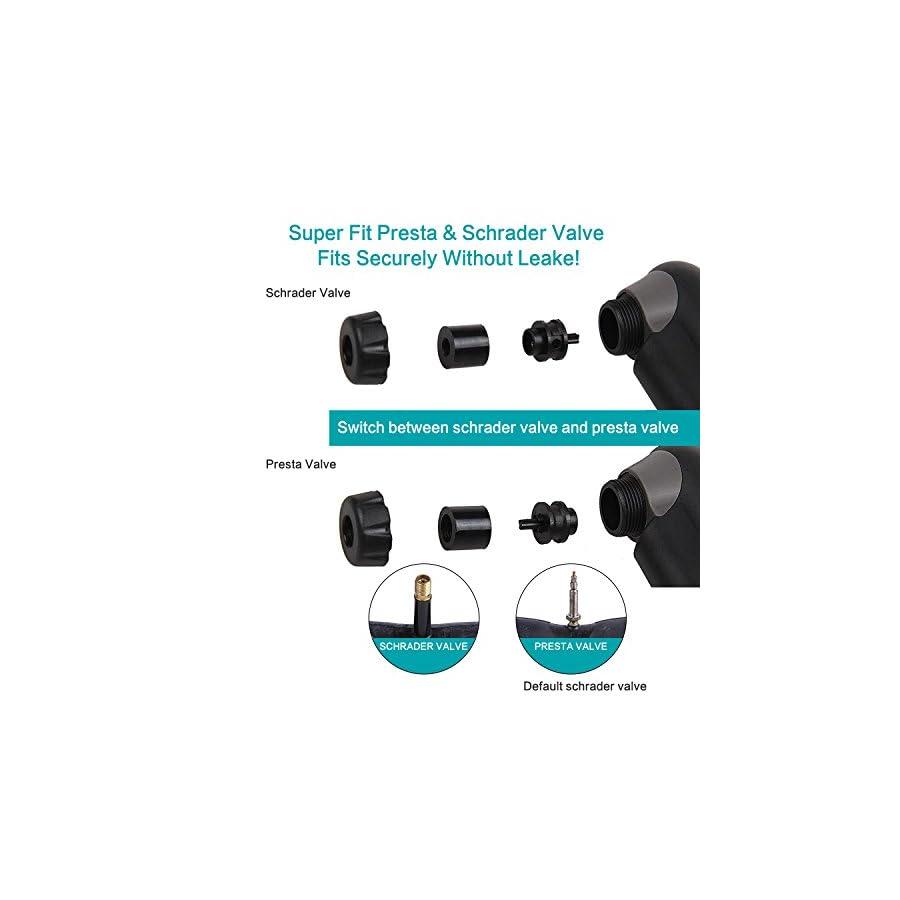 YOUYOUTE 120 PSI Mini Bike Pump Portable, Fits Schrader & Presta Bike Pump, Bike Tire Pump, Multi Function Bike Repair Tools,Glueless Puncture Repair Kit,Ball Needle and Inflation Valve