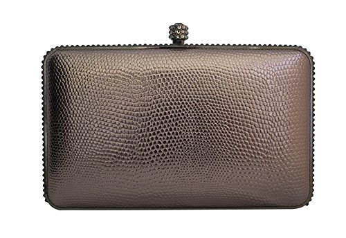 Chicastic Rhinestone Decor Snakeskin Pattern Metallic Hard Box Evening Clutch Purse - Grey