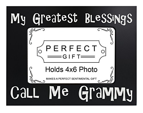 ThisWear Grandma Picture Frame My Greatest Blessings Call Me Grammy Grandma Granddaughter Gifts Grandma Black Steel Metal Engraved 4x6 Landscape Picture Frame Steel Metal