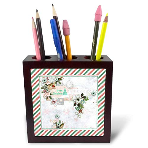 3dRose Beverly Turner Christmas Design - Merry Christmas, Ornaments, Poinsettias, Flowers, and Stars, Pastel - 5 inch Tile Pen Holder (ph_304953_1)