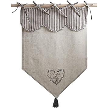 Rideau en coton et lin motif coeur gris \