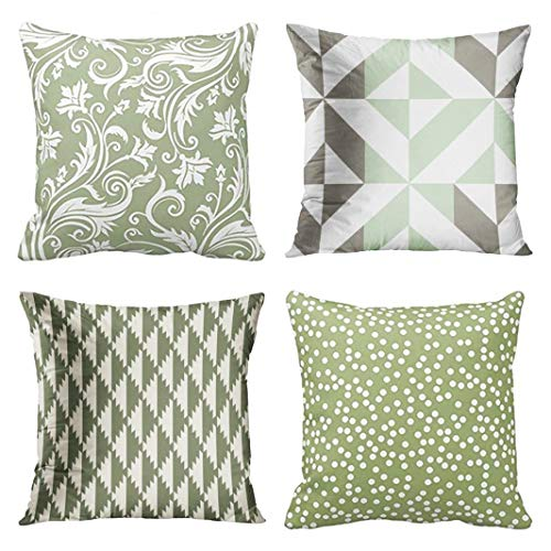 (Emvency Set of 4 Throw Pillow Covers Sage Green and White Pattern Geometric Flower Floral Gray Abstract Decorative Pillow Cases Home Decor Square 16x16 Inches Pillowcases)