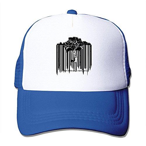 Price comparison product image SAXON13 Unisex Baseball-caps Mesh Back Barcode Graffiti Hat Cpas RoyalBlue