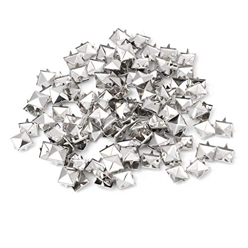 VIccoo Studs Rivets, 100Pieces Square Rivet Metal Studs Spikes Nail Punk Shoes Belt Clothing Decor DIY - Silver - 12mm