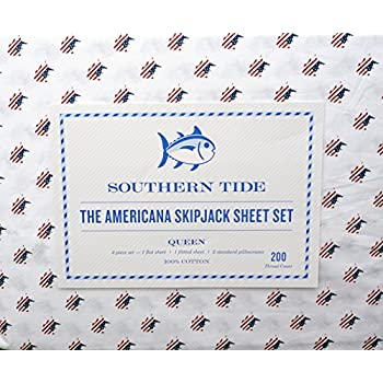 southern tide bedding 4 piece printed cotton queen sheet set solid white with patriotic american flag pattern americana skipjack