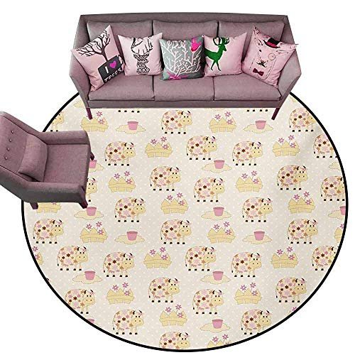 - Large Floor Mats for Living Room Colorful Kids,Cows with Flowers on Polka Dots Agriculture Farm Animal Country Life Inspired,Cream Pink Brown Diameter 54