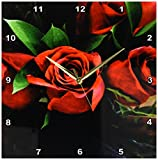 Cheap 3dRose dpp_37240_2 Red Roses on Black-Wall Clock, 13 by 13-Inch