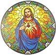 Panneau de Vitrail Autocollant Fenêtre Jésus Sacré Coeur 15cm