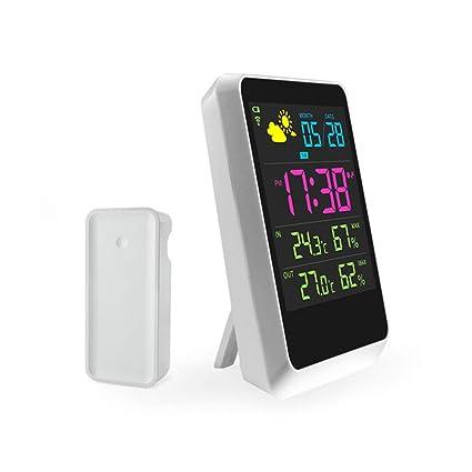 MRDEER LED Reloj Despertador Digital Reloj Inteligente Pared Multifuncional Pilas Reloj Despertador/Pronóstico del Tiempo