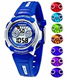 Waterproof Swimming Sports 7-Color Flashing Light Watches for Boys, Girls, Childrens Kids Age 4-12 (Blue)