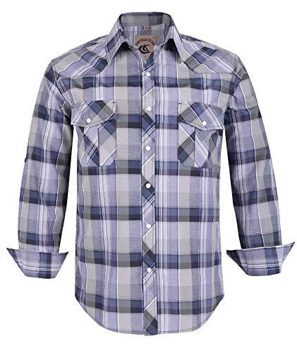 - Coevals Club Men's Button Down Plaid Long Sleeve Work Casual Shirt (Blue & Light Gray #13, XXL)