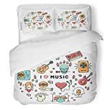 SanChic Duvet Cover Set I Love Music Inspiring Quote Infographics Line Colorful Decorative Bedding Set with 2 Pillow Shams Full/Queen Size