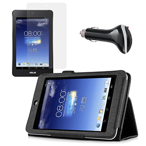 Black Folio Case with Screen Protector and Car Charger fo...