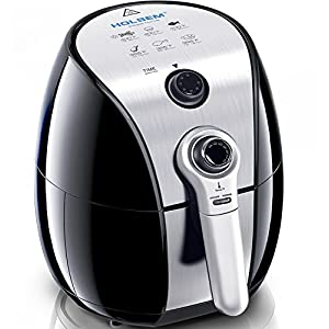 HOLSEM Air Fryer with Rapid Air Circulation System , 3.4 QT Capacity, Temperature up to 400°F, Low Fat Healthy Air Fryer, Black / Stainless Steel, 1500W(Knob)