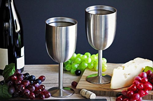 Amzyt Insulated Wine Glasses With Lid Double Wall Metal Stainless Steel Vacuum