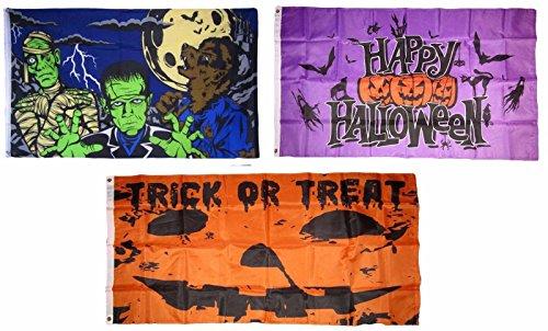MWS 3x5 Happy Halloween 3 Pack Flag Wholesale