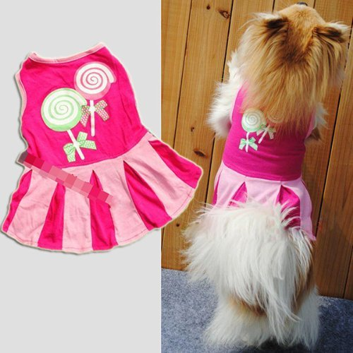 NEJLSD Candy Heart Circle Pattern Puppy Dog Doggie Apparel Clothes Hoodies Skirt Dress (S, Hot Pink)