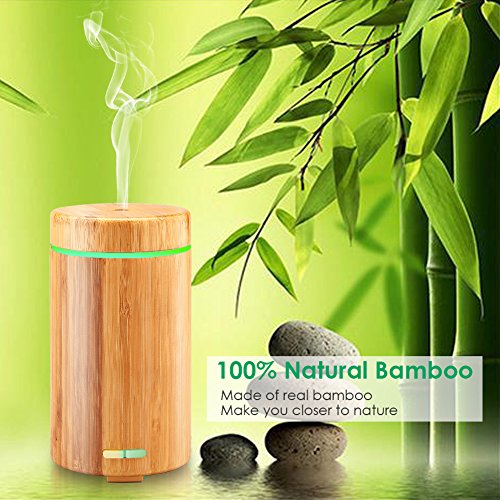 URPOWER Real Bamboo Essential Oil Diffuser Ultrasonic Aromotherapy Diffusers Cool Mist Aroma Diffuser with Adjustable Mist Modes, Waterless Auto Shut-Off, 7 Color LED Lights for Home Office by URPOWER (Image #3)