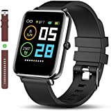 Bluetooth Smart Watch: All-Day Heart Rate Blood Pressure Activity Tracking Waterproof Full Touch Screen Step Counter Calorie Counter Pedometer Sleep Monitoring Ultra-Long Battery Life for iOS&Android