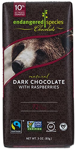 Endangered Species Grizzly, Natural Dark Chocolate (72%) with Raspberries, 3-Ounce Bars (Pack of (Dark Chocolate Raspberry Bars)