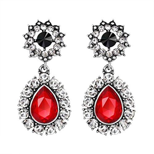 (Earrings, Shybuy Womens Crystal Rhinestone Wedding Drop Earrings for Ladies Silver Plated (Red) )