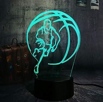 Sports Basketball RGB LED 3d luz nocturna 7 cambio de color visual ...