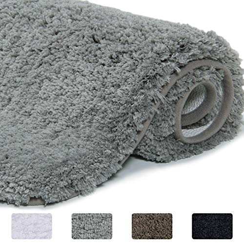 Lifewit Bathroom Rug Bath Mat Non-Slip Rubber Microfiber Soft Water Absorbent Thick Shaggy Floor Mats, Machine Washable, Grey,24″x16″