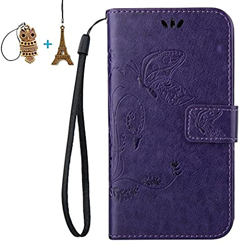 LG Ultimate 2 L41C / Optimus L70 Case, Mr.Dakai [Purple] Magnetic Closure PU Leather Flower Butterfly Embossed Wallet Case Folio Flip Stand Case with Strap for LG Ultimate 2 L41C / Optimus (Lg L41c Phone Case Wallet)