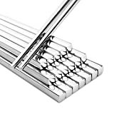 20Pcs Household 304 Stainless Steel Chopsticks Square Heat Stainless Steel Chopsticks Hotel Restaurant Stainless Steel Chopsticks 10pair