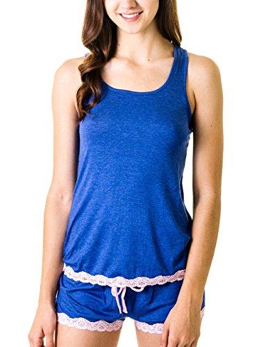 Rene Rofe Rayon Lace Trimmed Racerback Tank Top and Shorts Pajama Set (XL, Indigo/Pink)