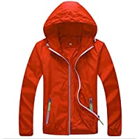 Panegy Womens Windbreaker Hoodie Skin Coat Mens Reflective Running Jacket Slim Fit Quick Dry Orange 3XL