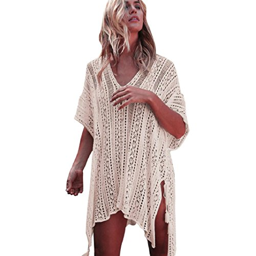 ShenPourtor_Women Beachwear ShenPr Women V-Neck Knitting Crochet Beach Smock Irregualr Hem Cover Up Dress Bikini Swimsuit (Smocked Cover)