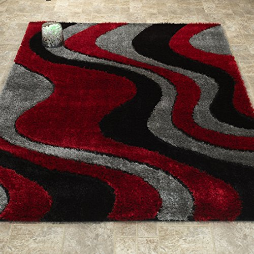 Casa Regina Shaggy Collection - 3D Design - Abstract Waves Red Black Soft Shag Area Rug 5x7 (5'3