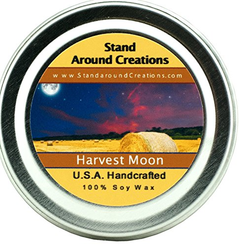 (Premium 100% All Natural Soy Aromatherapy Candle - 2 oz Tin- Harvest Moon - A fragrance beginning with top notes of fresh pear, blueberries, and pineapple; followed by middle notes of juniper berries and eucalyptus; and well rounded with base notes of spruce, woods, Douglas fir, cedar, and white musk.)