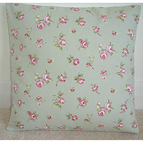 (CELYCASY 18x18 inch 45x45cm Pillow Cover Pink Roses 16 Cushion Sham Slip Case Rosebuds Sage Green Modern Chintz Shabby Cottage Chic Rose Rosebud)