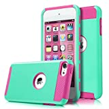 iPod Touch 6 Case, iPod Touch 5 Case, KAMII Slim Fit Shockproof Bumper Dual Layer Hard PC+Soft Silicone Hybrid Protective Case Cover for Apple iPod touch 5 6th Generation (Aqua+Rose)