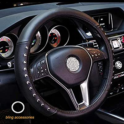 ALVAZA Genuine Leather Car Steering Wheel Cover with Decorative Rivet and Bling Crystal Rhinestone Crown for Vehicles SUV, Breathable, Anti-Slip,Universal 15 Inch (black1): Automotive