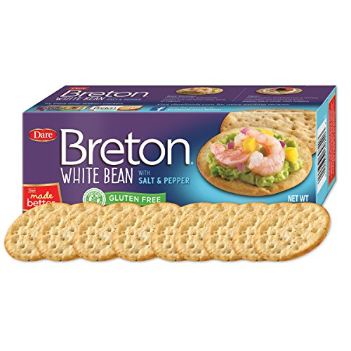 (Dare Breton Gluten Free Entertaining Crackers, White Bean with Salt and Pepper – Gluten Free Party Snacks with 2g of Fiber and Protein per Serving – 4.2 Ounces (Pack of 6))