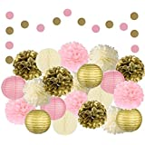 Adorable 22 Pcs Mixed Pink, Gold & Ivory Party Decorations by Epique Occasions–Set of Hanging Tissue Paper Flower Pom Poms, Lanterns & Honeycomb Balls for Girl Birthday Wedding & Party Décor Supplies