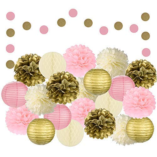 Adorable 22 Pcs Mixed Pink, Gold & Ivory Party Decorations by Epique Occasions–Set of Hanging Tissue Paper Flower Pom Poms, Lanterns & Honeycomb Balls for Girl Birthday Wedding & Party Décor Suppli