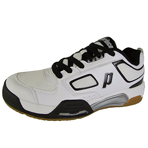 Prince Mens NFS Assault Indoor Court Sneaker Shoes, White/Black/Silver, US (Prince Court Shoes)
