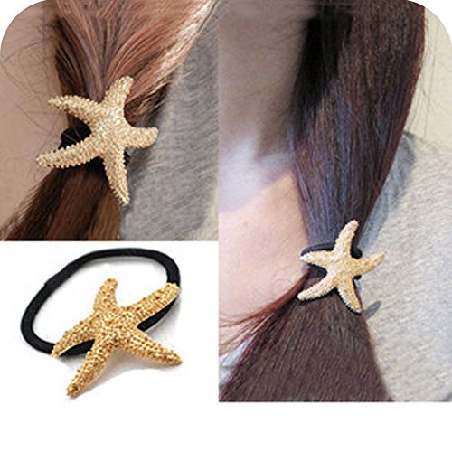 (European and American jewelry, hair accessories headdress golden sea star hair ring hair rope rope pentacle metallic rubber band head flower for women girl lady)