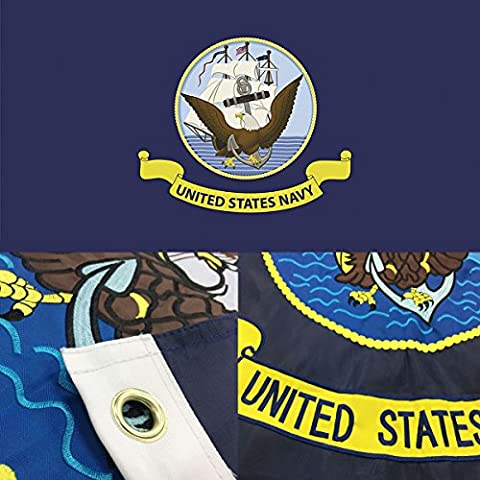 US Navy Flag 3x5 Ft with Double Sided Embroidered, Double-decker Long Lasting Nylon, Sewn Stripes and Brass Grommets, UV Protected, Best 3 by 5 USA Flag and U.S. Military Flags by - Double Sided Pole