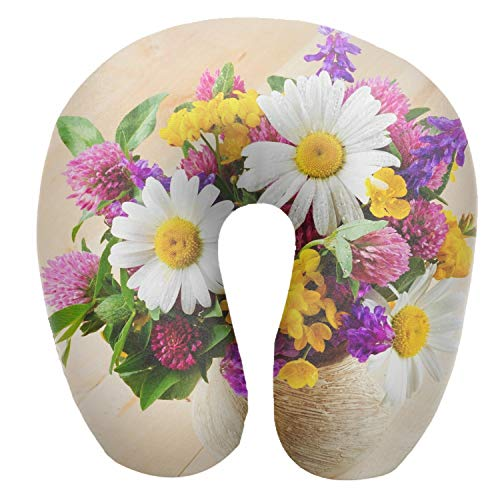 - Printed Travel Pillow,U-Shape Neck Pillow,Daisies Flowers Clover Flower Vase